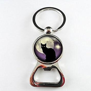 Abridor de botellas de cristal para gatos, abridor de botellas de luna y luna con