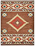 Nevita Collection Southwestern Native American Design Area Rug Rugs Geometric (Brown, 8 x 10)