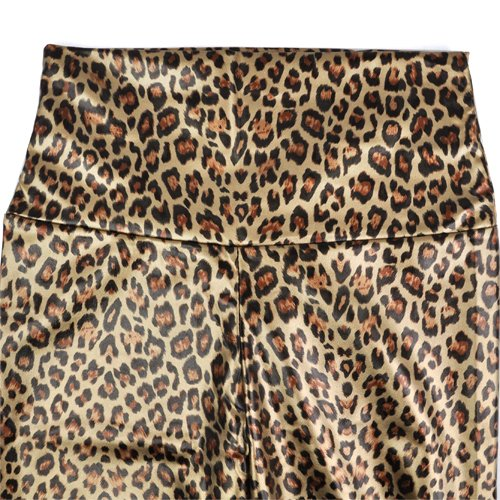 TOOGOO(R) Sexy Dames Taille Haute Brillante Face Faux Cuir Jambieres jambieres Collants Pantalons - Rose Leopard S