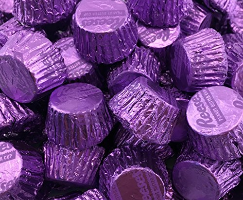LaetaFood Bag - Reese's Miniatures Peanut Butter Cups Milk Chocolate, Purple Foils (Pack of 2 Pounds) -
