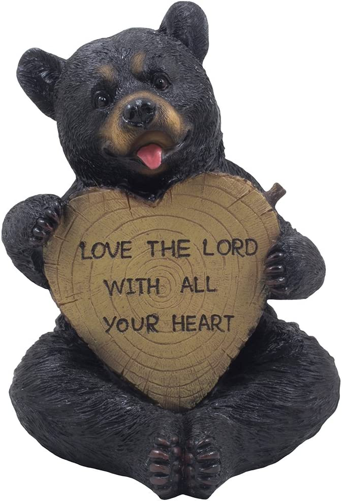 Decorative Sitting Black Bear Holding Faux Wood Heart Sign Statue for Rustic Spiritual Décor or Christian & Religious Decorations As Teddy Bear for Women