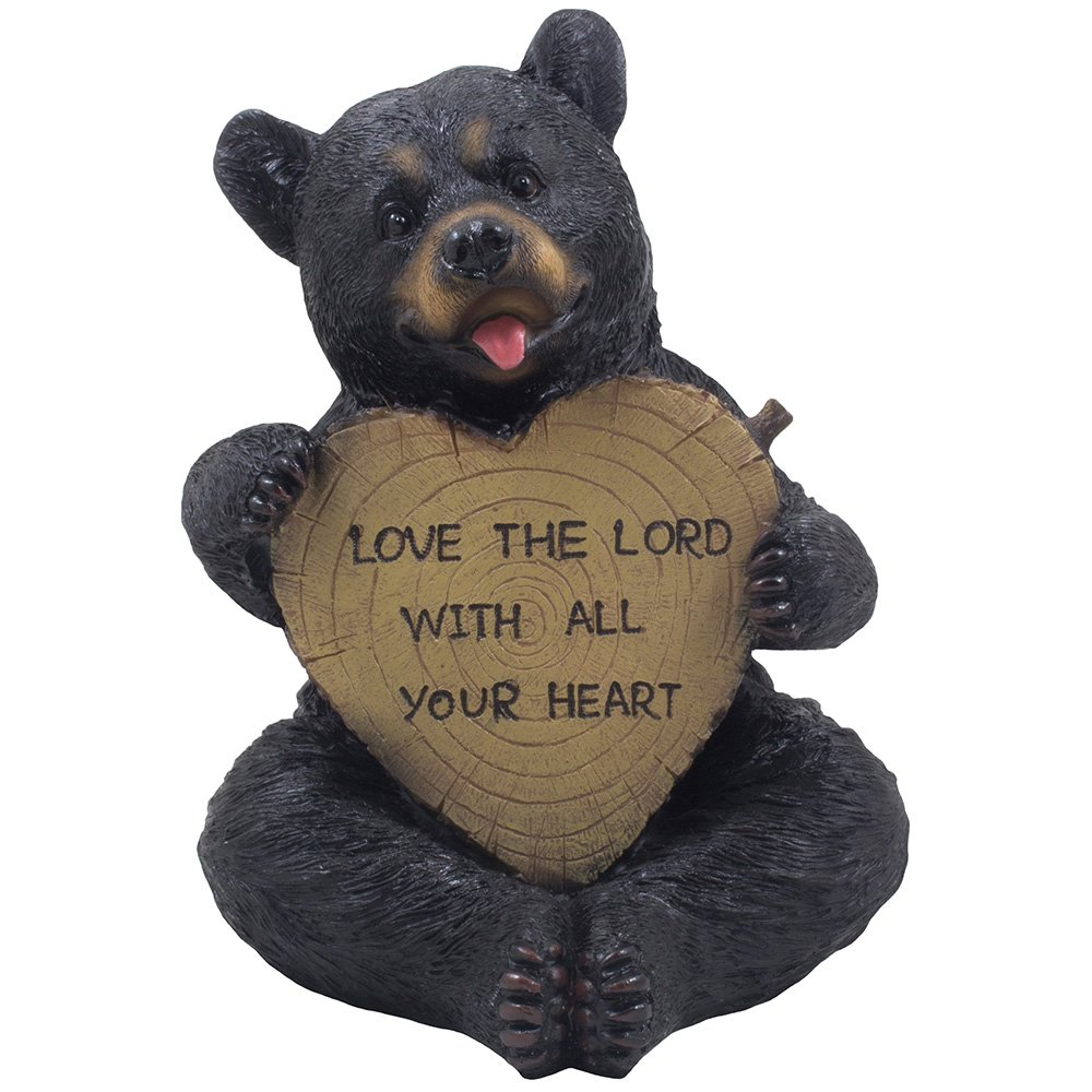 Decorative Sitting Black Bear Holding Faux Wood Heart Sign Statue for Rustic Spiritual Décor or Christian & Religious…
