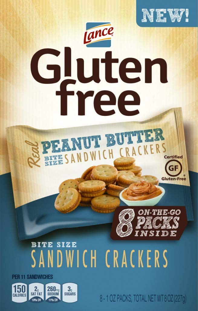 Lance Gluten Free Sandwich Crackers, Peanut Butter, On the Go Packs 8 Count (Pack of 4) by Lance