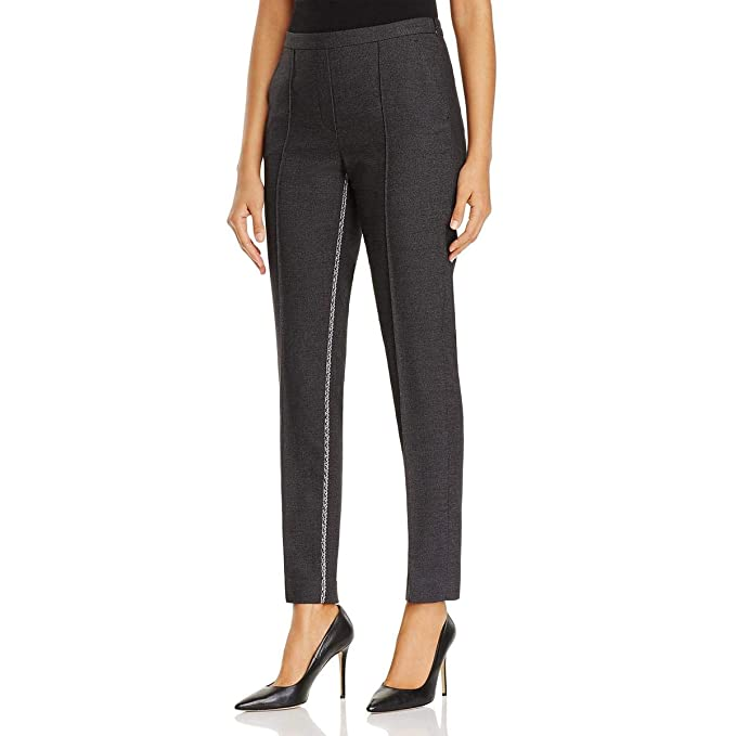 0a3458ef981 T Tahari Womens Ivana Metallic Trim Skinny Ankle Pants Black 8 at ...