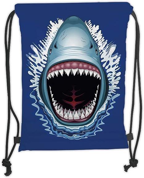 Drawstring Backpack Open Mouth Shark Shoulder Bags