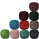 Lot of 10 Pcs Variegated Metallic Cotton Crochet Thread Knitting Multicolor Yarn Tatting Doilies Assorted Skeins Lacey Craft