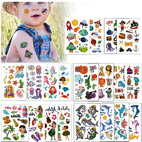 Temporary Tattoos for Kids, BUVE 240 + Design Kid Party Favors Face Tattoos Pirate Shark Mermaids Spaceships Summer Tropical Body Sticker for Boys Girls, 20 Sheet