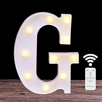 LED Marquee Letter Lights 26 Alphabet Light Up Name Sign Remote Control Letter Lamp for Wedding Birthday Party Battery Powered Christmas Lamp Home Bar Decoration (letter G-Remote control)