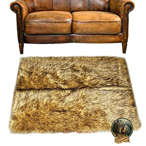 Wolf Skin Faux Fur Area Rug - Accent Throw Carpet - Coyote - Bear Skin - Luxury Shag - Easy Care - Animal Friendly - Fur Accents Original Designs - USA (10'x12')