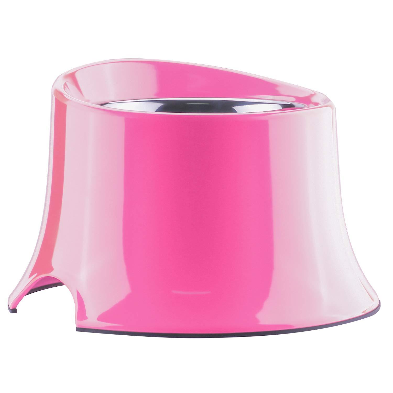 SuperDesign 犬猫向けのステンレスチールボウル吸水器 給食器 ラバー製 丸型 メラミン製スタンド付き 高さあり 足が長い体型に適用 滑り止め 取り外し可能 洗いやすい 食器洗濯機で洗える B06XRBQBQY ピンク L L|ピンク