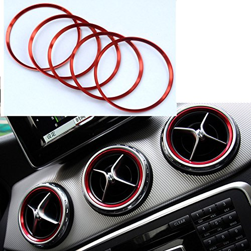 Angelguoguo Car Air Conditioning Air Outlet Decoration Trim Ring Sticker for Mercedes Benz A/B/GLA/CLA Class GLA180 200 220 260 - Mercedes Outlets