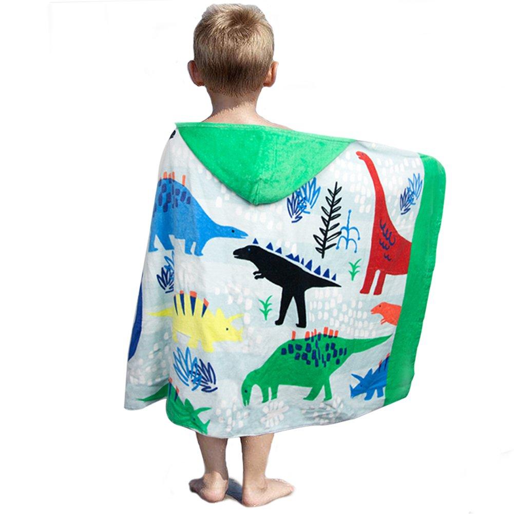 LALIFIT 100% Cotton Kids Hooded Poncho Swim Beach Bath Pool Towel for Girls/Boys(Dinosaur)