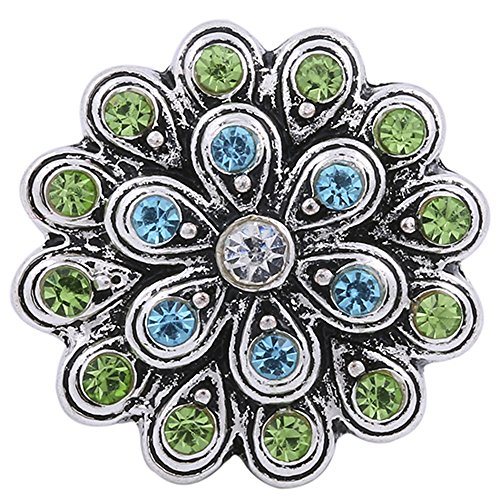 Interchangeable Snap Jewelry 20mm Rhinestone Flower Blue & Peridot by My Prime Gifts (Rhinestone Snap)