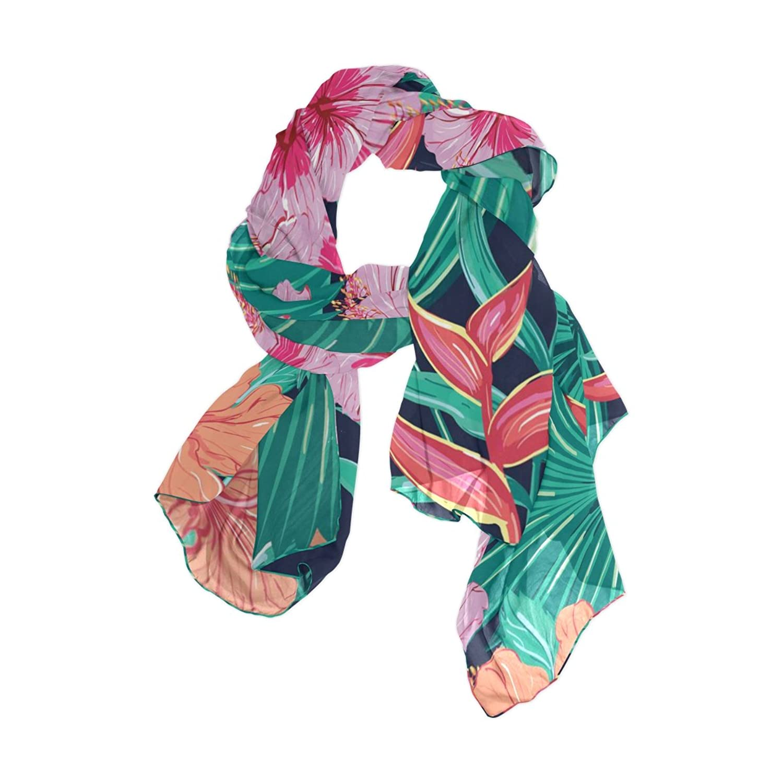 Lightweight Shawl Wrap Sheer Scarves,Tropical Floral,Oblong Chiffon Scarf