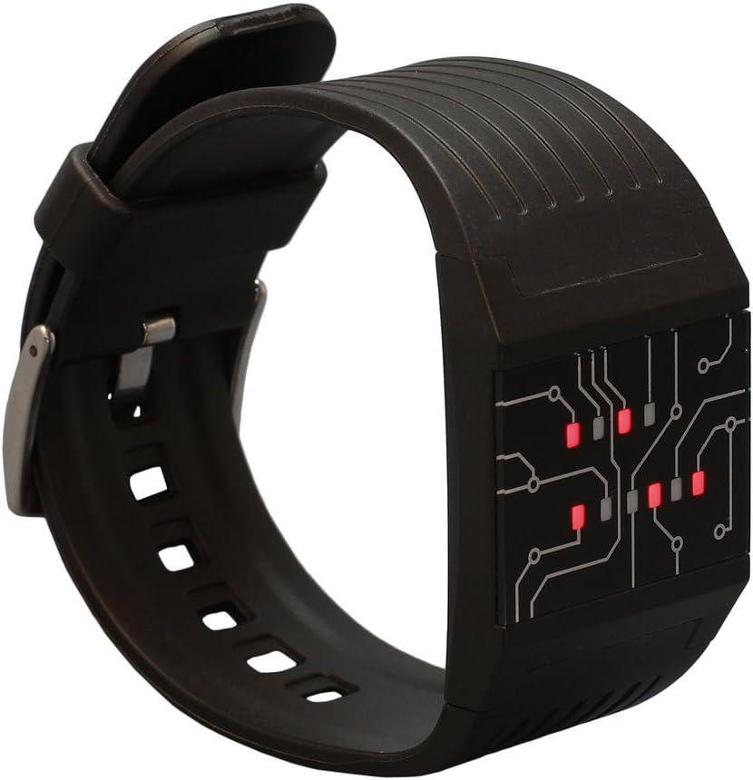 getDigital 7235 Reloj de muñeca binario para pros con luces LED - Reloj negro digital - Reloj único que marca la hora en modo binario