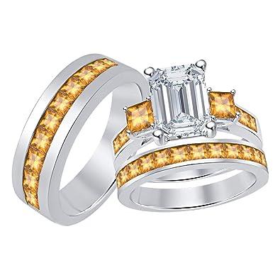 Amazon Com Gold Diamonds Jewellery Three Stone Emerald