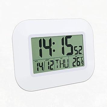 MachinYeser Escritorio Digital Reloj Despertador de Pared con termómetro y Calendario Multifunción LCD silencioso Digital Reloj