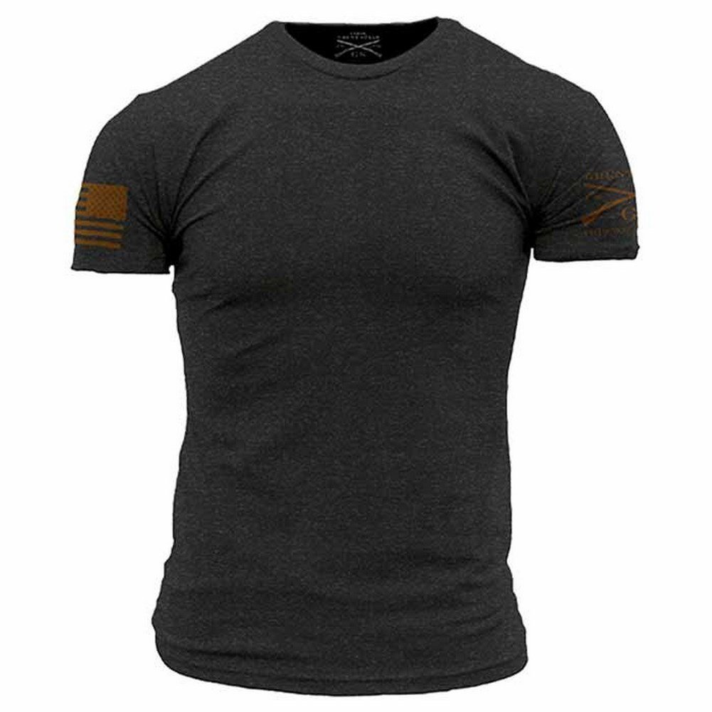 Grunt Style Basic Men's T-Shirt (Large, Charcoal - Tan)