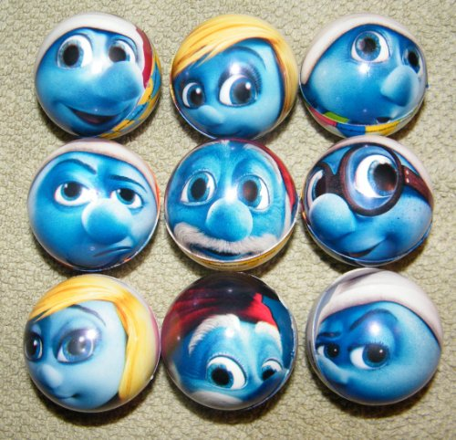 Smurf Figure Toy 2-Sided Soft Foam Ball Set of 9 with Grumpy, Papa, Happy and More!