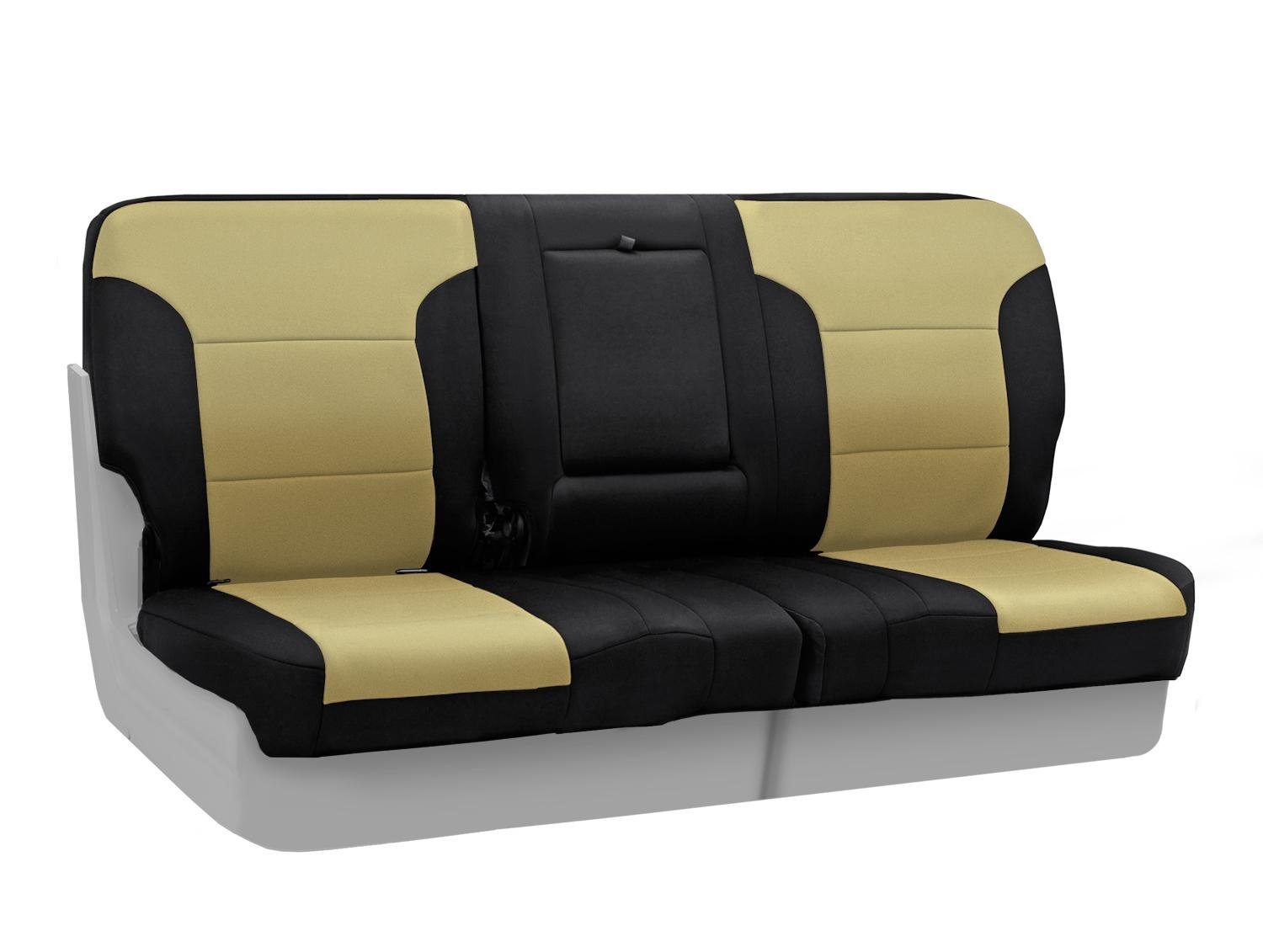 CSC2A5PR9283 Tan with Black Sides Neosupreme 2-Tone Coverking Custom Fit Rear 60//40 Back Seat Cover for Select Porsche Panamera Models