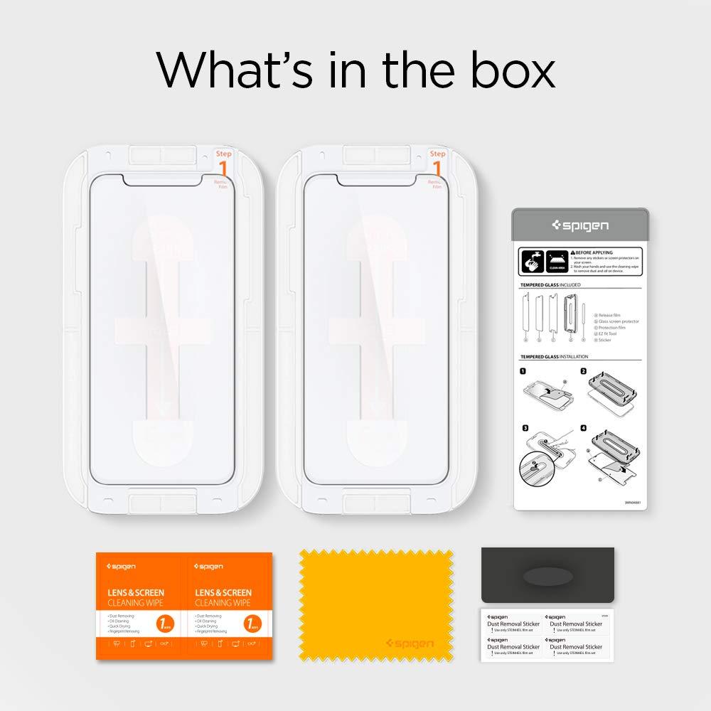 Spigen Tempered Glass Screen Protector Designed for iPhone XR Installation Kit 2 Pack