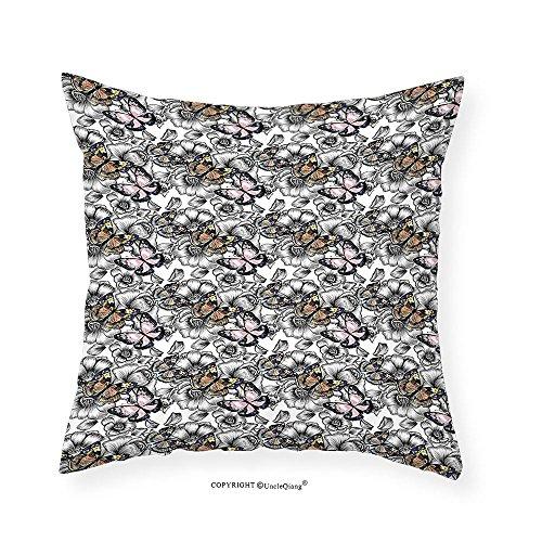 VROSELV Custom Cotton Linen Pillowcase Butterfly Decor Monarch Butterflies Flowers Floral Bedroom Living Room Dorm Decor (Monarch Set Loveseat)