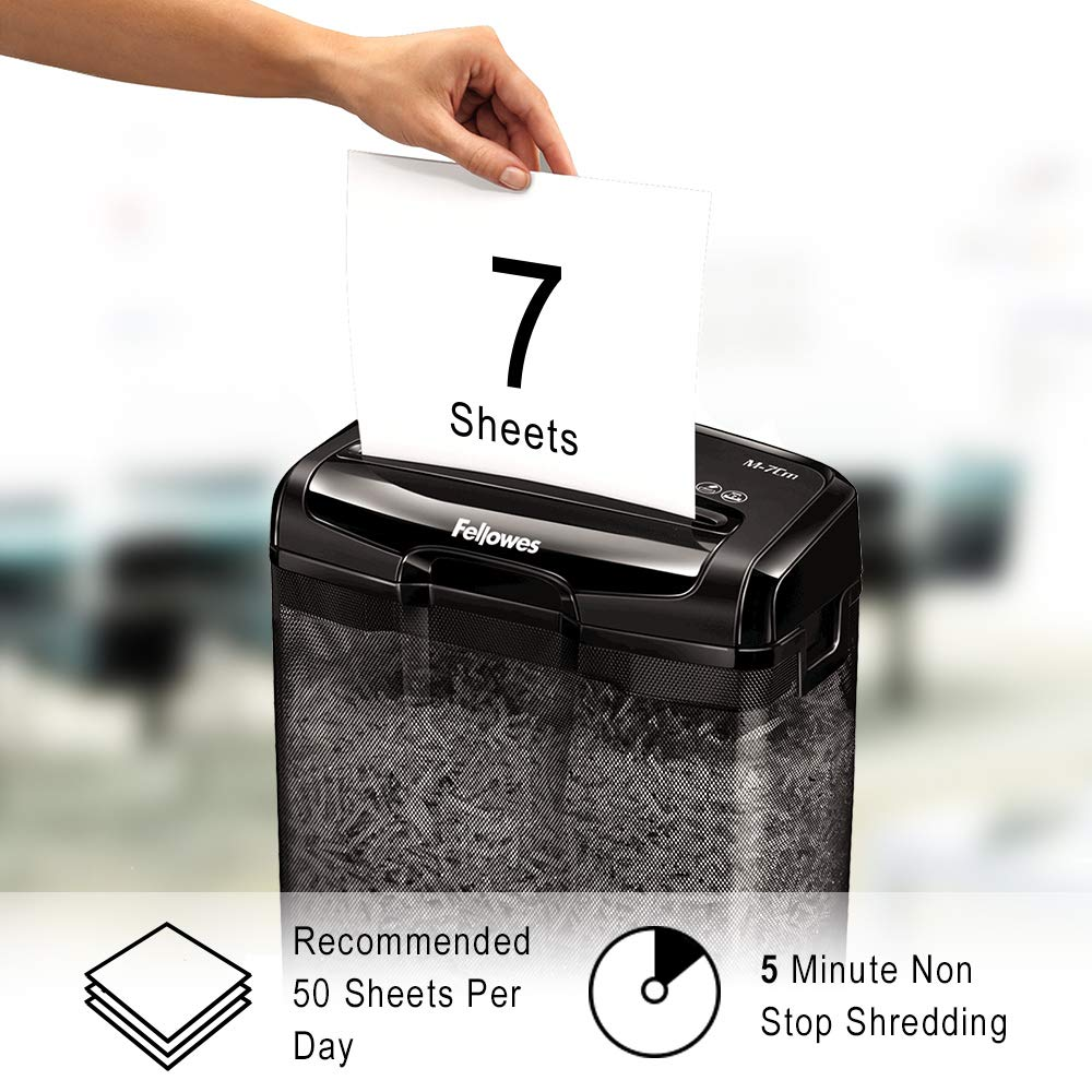 Fellowes Powershred M-8C 8 Sheet Cross Cut Personal Shredder With Safety Lock