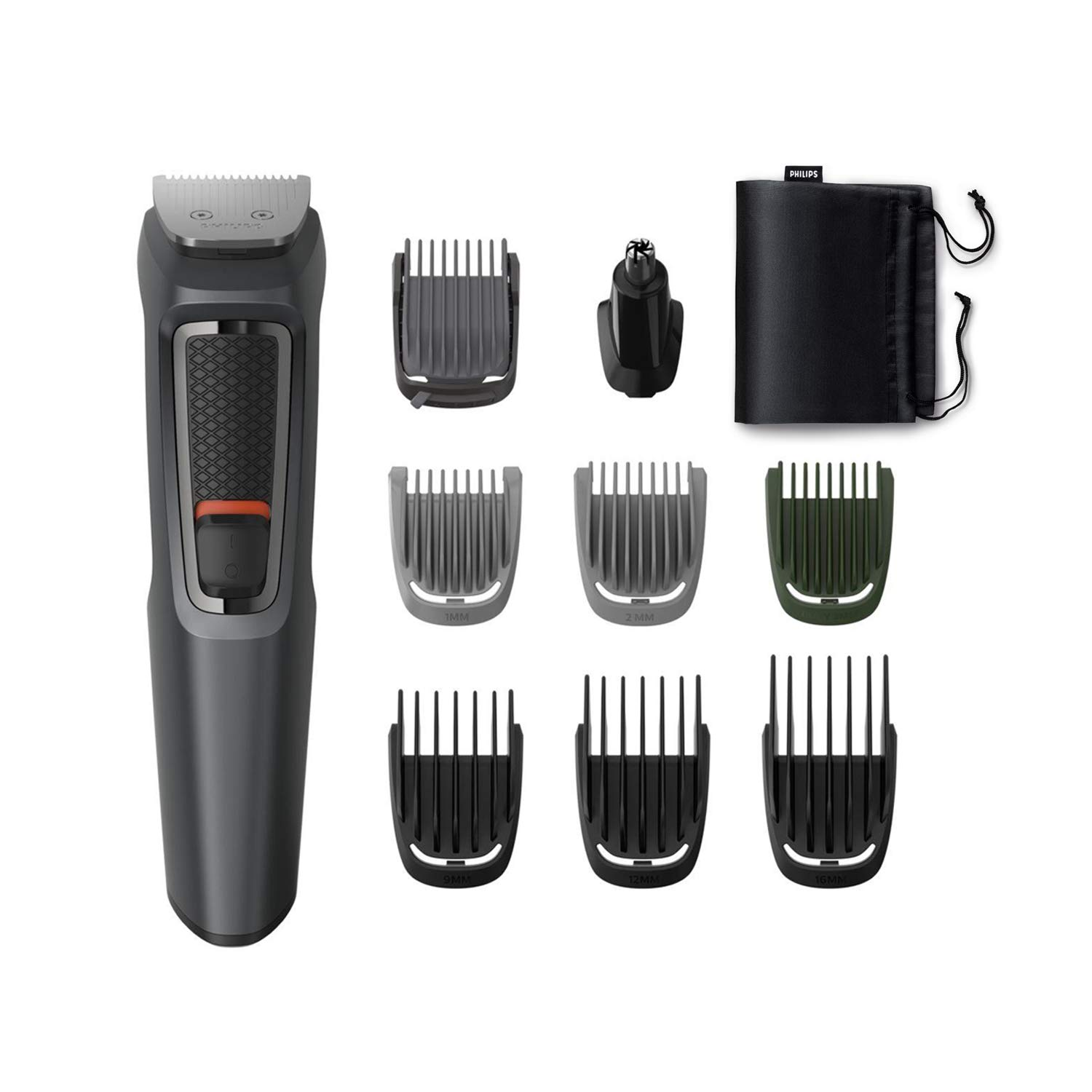 Philips MG3747/15, 9-in-1, Face, Hair and Body – Multi Grooming Kit. Self Sharpening Stainless Steel Blades, No Oil Needed, 70 Mins Run Time (Black)