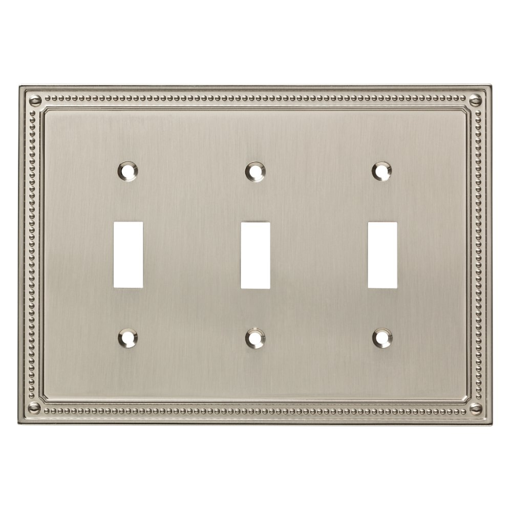 Franklin Brass W35066-SN-C Classic Beaded Triple Switch Wall Plate/Switch Plate/Cover, Satin Nickel