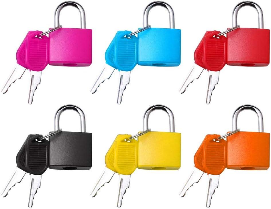 Fantye 6 Pcs Suitcase Locks with Keys, Metal Padlocks Luggage Padlocks Multicolor Small Padlock Keyed Padlock for School Gym