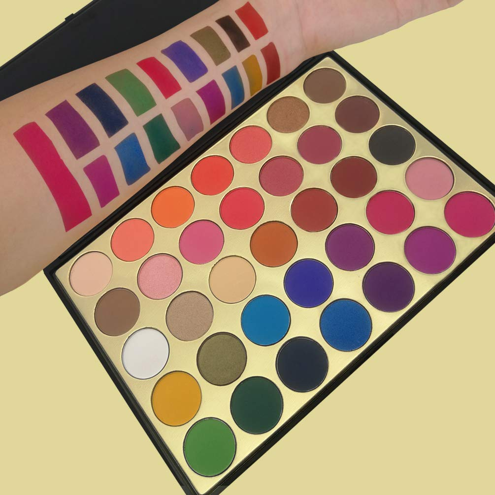 Eyeshadow Palette, 35 Colors Pro Eyeshadow Golden Palette 27 Matte and 8 Shimmer Blendable Long Lasting Creamy Powder Bright Colors Neutral Pigment Shadow Cosmetics Set #35SP