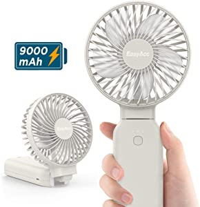 Handheld Fan, EasyAcc 9000mAh Battery Fan 2020 Upgraded Portable Fan with Unique One Touch Power Off USB Desk Fan 9-53 Hours 4 Speeds Strong Winds Personal Cooling Fan for Home Office Outdoor-White
