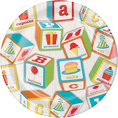 ABC Blocks Birthday Dessert Plates, 24 ct