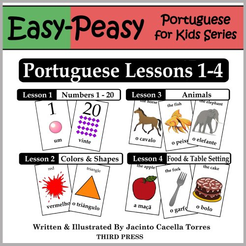 Portuguese Lessons 1-4: Numbers, Colors/Shapes, Animals & Food (Portuguese Card)