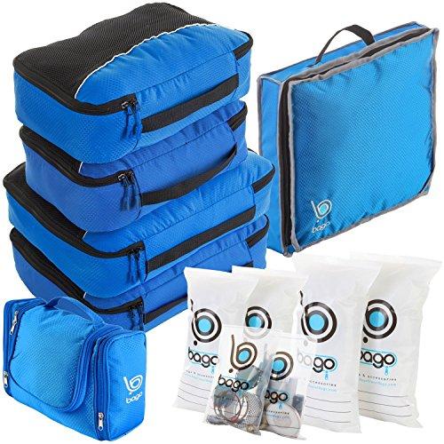 Bago Organizzatori di Viaggio Set Completo- Cubi d'Imballaggio, Borsa da Toilette, Borse da Scarpe, Sacchetti Zip (BLU)