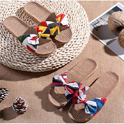 Btrada Dames Vlas Slippers-indoor Home Antislip Flats Sandalen-outdoor Zomer Strand Sandalen Blauw