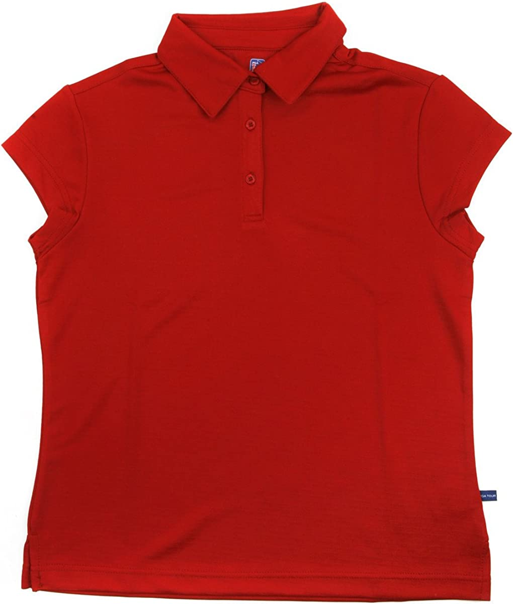 Red Solid Red Solid Medium Hireko PGA Tour Womens Cap Sleeve Polo Shirt Medium