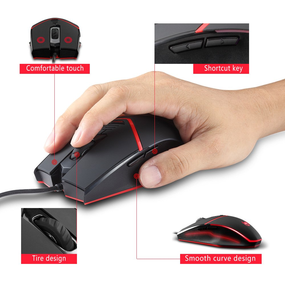 Laptop,Macbook Zelotes C-13 Wired MMO Gaming Mouse 6 Programmable Buttons Cool LED lights Professional PC Game Mice for Gamer Notebook Weight Tuning Set PC 3200DPI High Precision