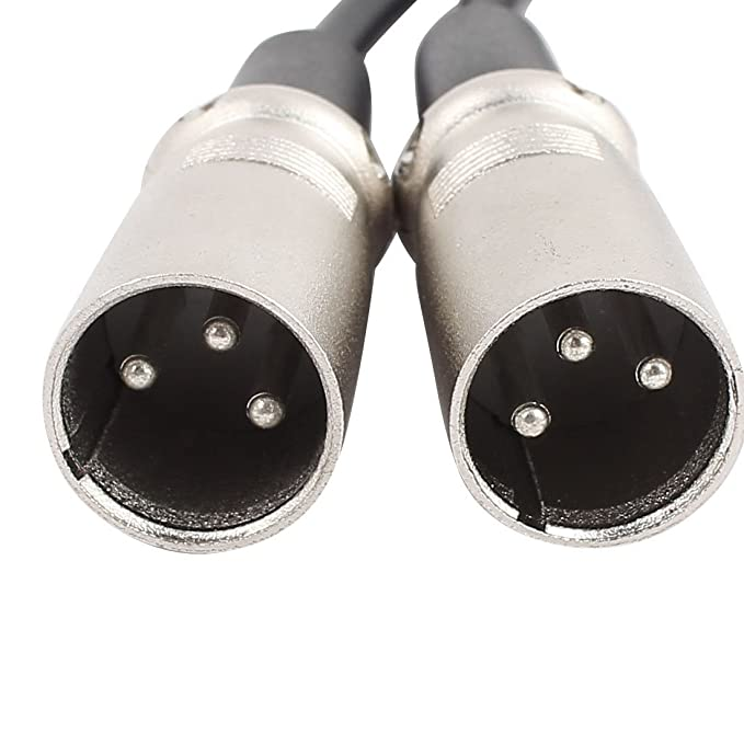 Amazon.com: eDealMax RC-130 1 hembra a 2 Cord Hombre Negro XLR Micrófono Cable w Plateado Plata de conector 20 pulgadas Longitud: Electronics
