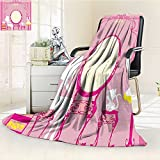 AmaPark Weave Pattern Extra Long Blanket Lady Sitting in Front of French Cosmetic Make Up Mirror Furniture Lightweight Blanket Extra Big