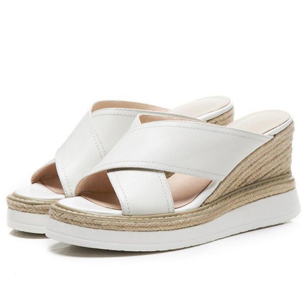 GAOLIXIA Frauen Leder T-Riemen Sandalen Pumps Sommer Classic Stroh Hausschuhe Fashion Wedges High Heels  35|Creamy-white
