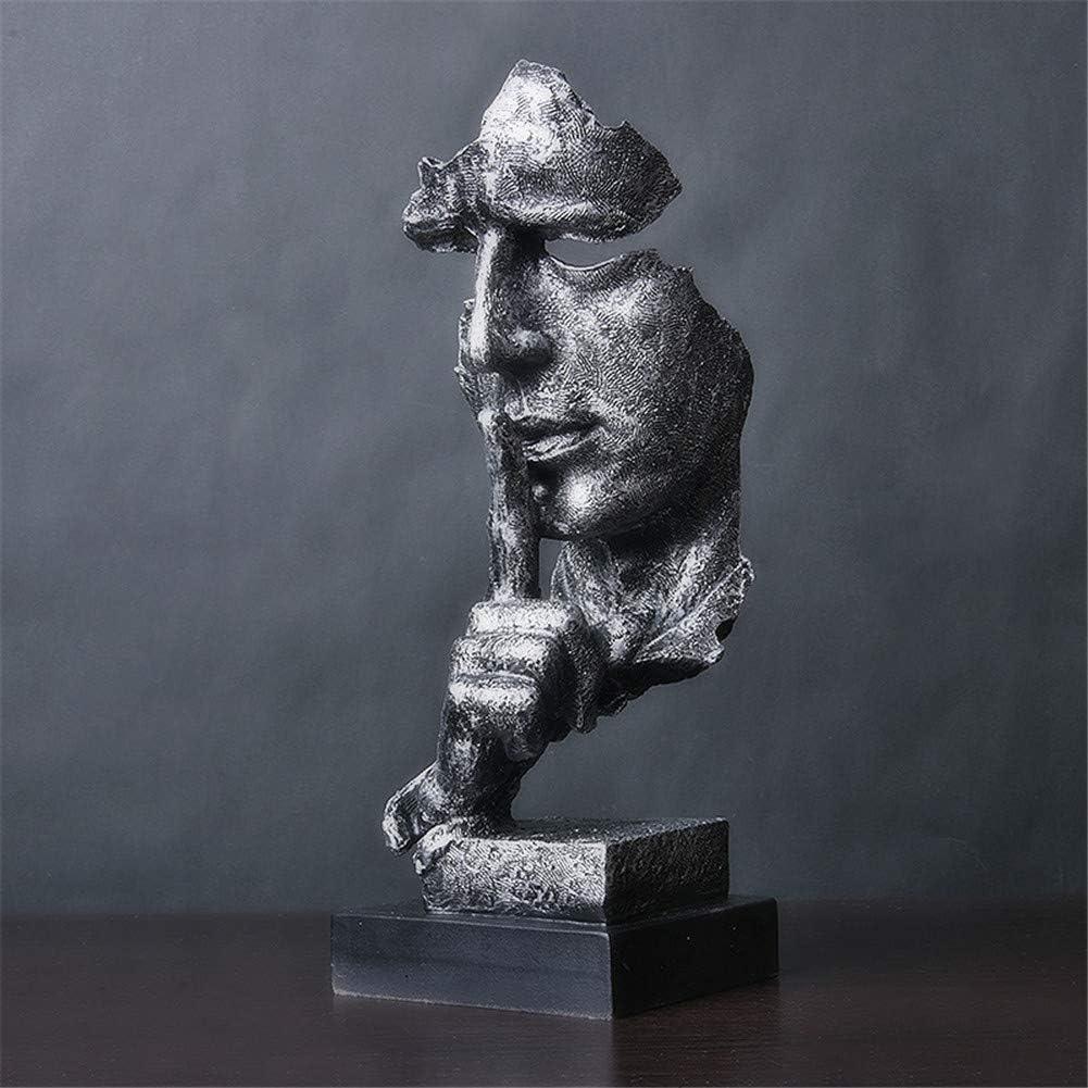 LWZY El Silencio es una Estatua Dorada de Creativa,Simple Moderno artesanias Adornos, Arte decoración Escultura para Oficina Sala de Estar Bar Café-G 12x13x34cm(5x5x13inch)