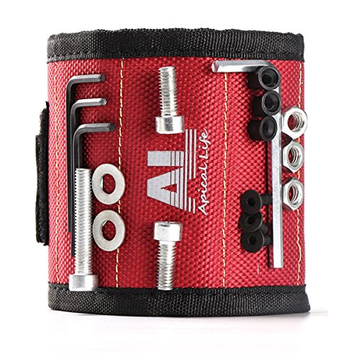 Magnetic Wristband with 10 Powerful Magnets Easily Holding Screws, Nails, Drill Bits and Other Small Metal tools. Perfect Gifts for Men, Dad, Boyfriend, Handyman and Electricians by Apicallife