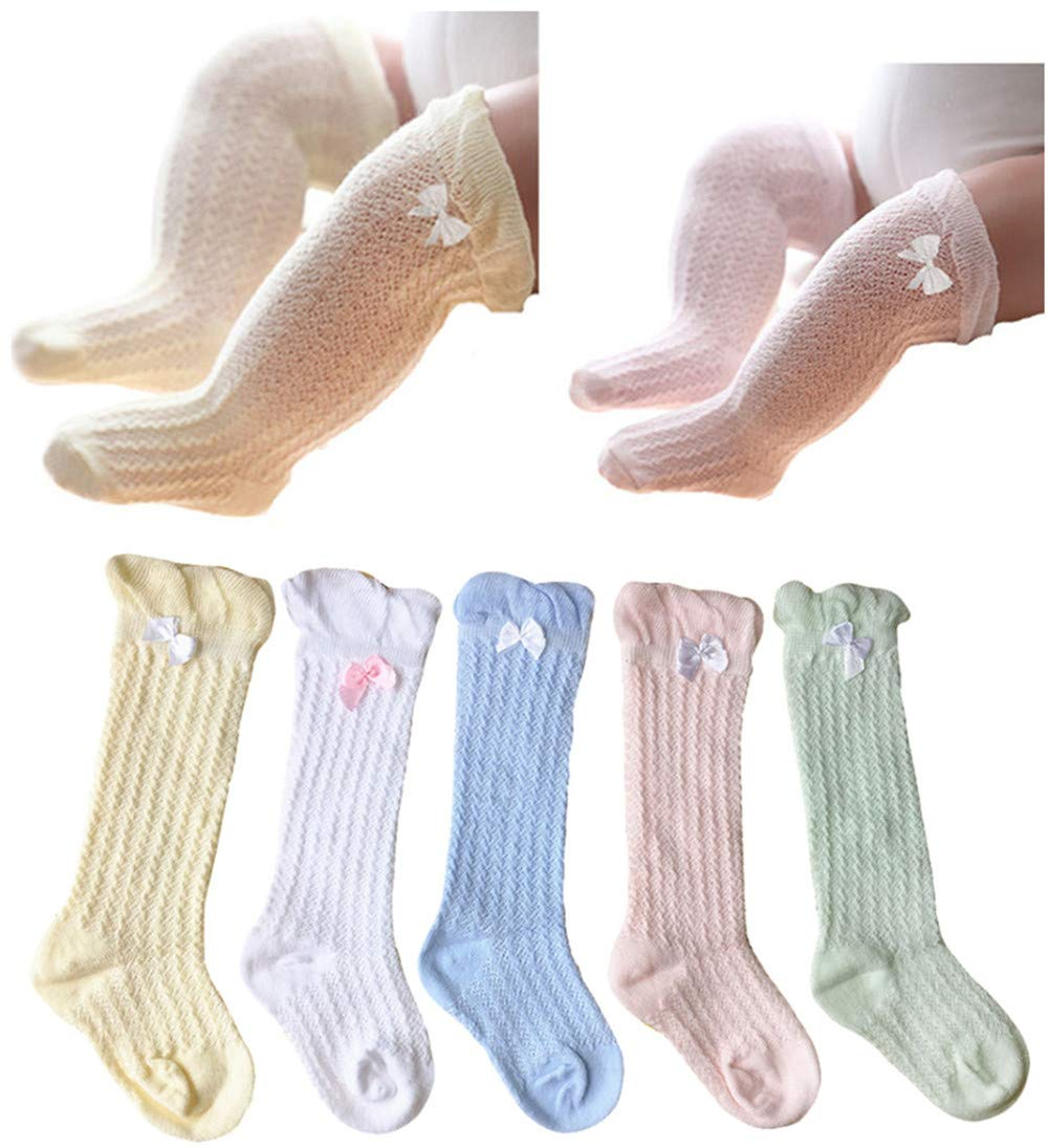 QandSweet Baby Girl Knee-High Socks Toddlers Breathable Mesh Dance Sock Summer Anti-mosquito Socks (3-5T, Mix 5 Colors)