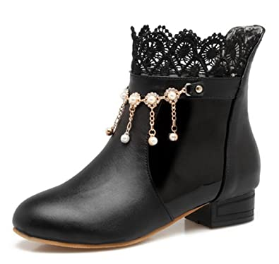 b675de9f32dd Aisun Women s Cute Laces Rhinestone Pull On Short Boots Chunky Low Heel Round  Toe Ankle Booties