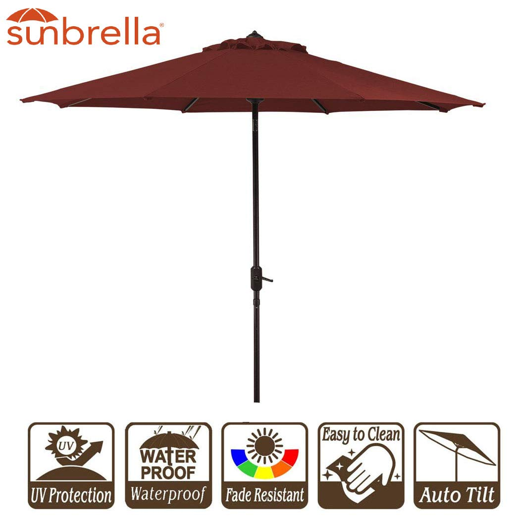 Garden Umbrella with Crank and Auto Tilt 9 Feet Patio Market Table Umbrella Sunbrella Fabric Canvas Cornell Brick Red (9' Crank & Tilt, Brick Red Cornell) by Unknown