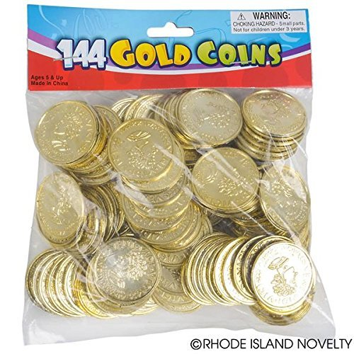 72  Plastic Pirate Gold Play Toy Coins Birthday Party Favors