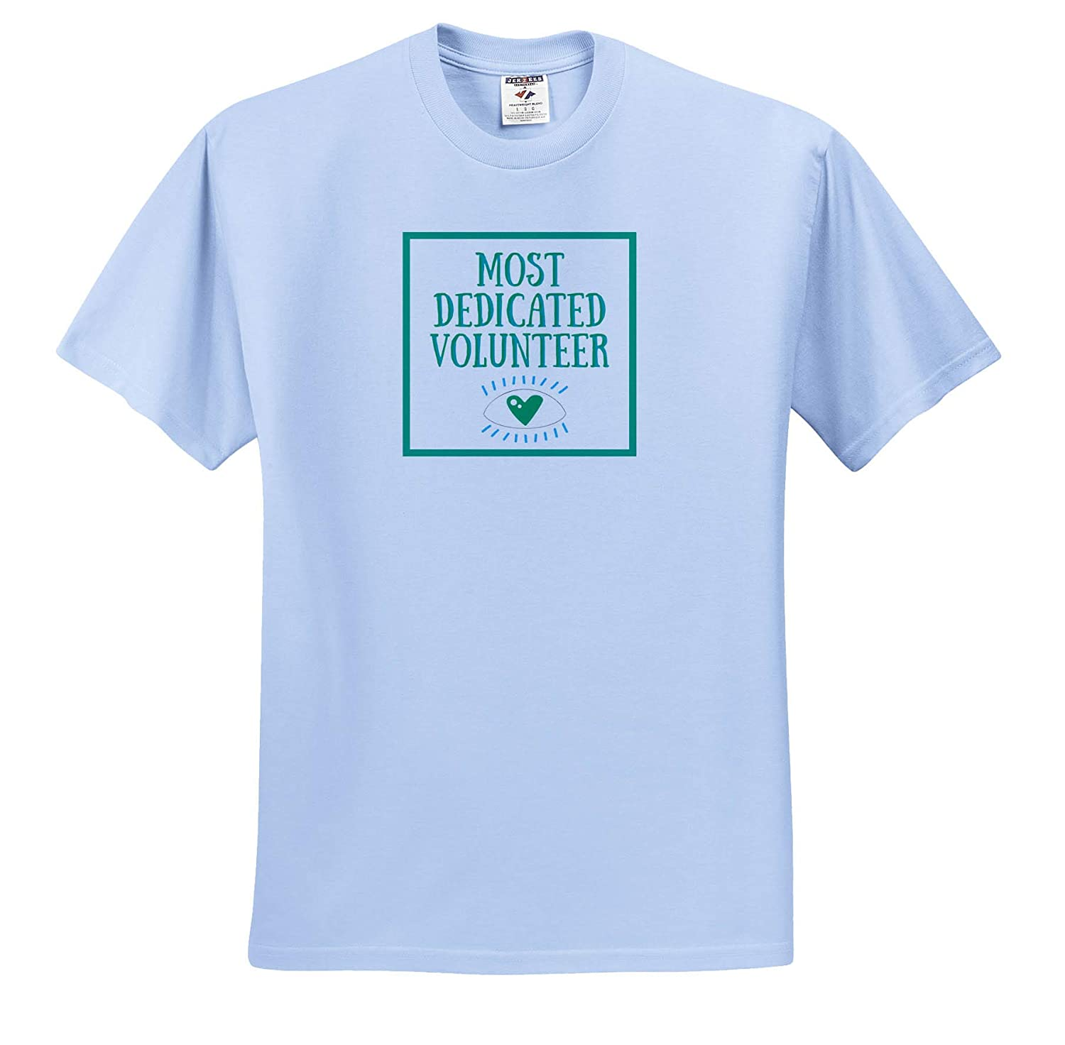 ts/_311799 3dRose Carrie Merchant Quote Adult T-Shirt XL Image of Most Dedicated Volunteer Teal Letters