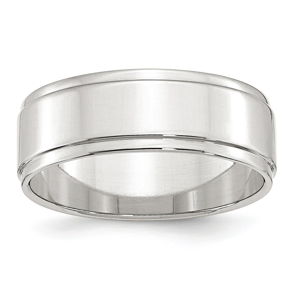 Jewel Tie 925 Sterling Silver 7mm Flat with Step Edge Wedding Band