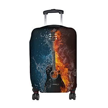 COOSUN Guitarra eléctrica Imprimir Equipaje de Viaje Cubiertas Protectoras Lavable Spandex Equipaje Maleta Cubierta - Se Adapta a 18-32 Pulgadas S 18-21: ...